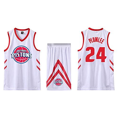 EFXCHSY Conjunto de 2 piezas de camiseta sin mangas de entrenamiento de baloncesto y pantalones cortos Traje de camiseta Pantalones cortos deportivos Detroit Pistons Jerseys + Pantal