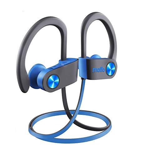 Bluetooth Kopfhörer Moffo Bluetooth Ohrstöpsel, 6-8 Stunden Spielzeit, Bluetooth 4.1, In Ear Kopfhörer mit Mikrofon für iPhone Android Samsung iPad Huawei HTC usw (Grau blau)