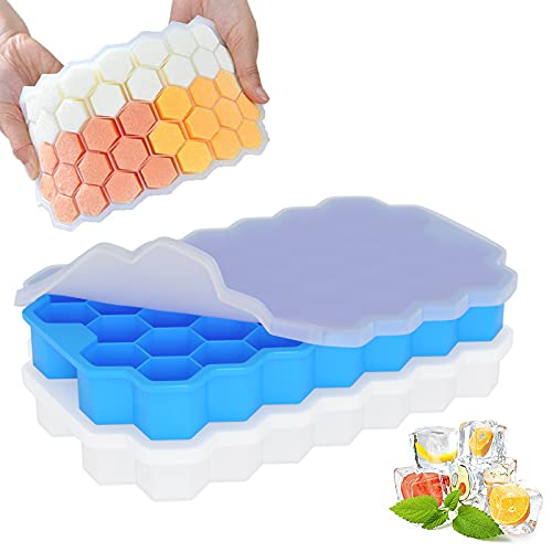 Ice Cube Tray Silicone with Lid, THEGUS® Ice Trays for Easy Take&Clean,...