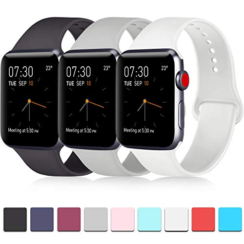 Pack 3 Compatible with Apple Watch Band 38mm, Soft Silicone Band Compatible...