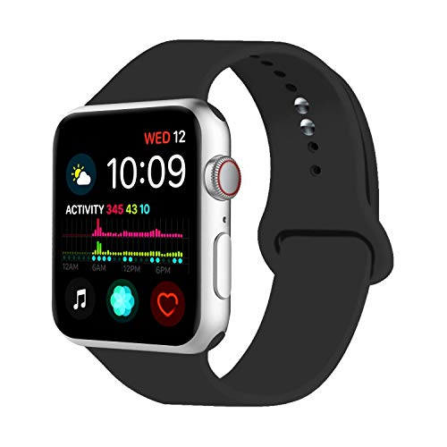 Uitee Sport Watch Band Compatible with Apple Watch 38mm 40mm 42mm 44mm, Soft Silicone Bands Replacement Strap Compatible with Apple Watch Series 4/3/2/1 S/M M/L