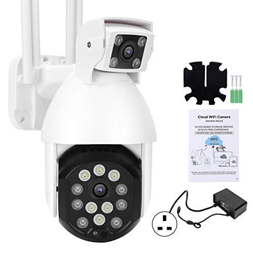 Uxsiya Cámara de vigilancia 1080P HD Detección de movimiento bidireccional Intercomunicador de voz Soporte TF Tarjeta Almacenamiento Soporta remoto (Regulador Británico)