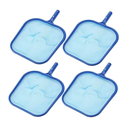 GyfHMY 4-delige pak high-performance zwembad-schuimer, handgrepen, fijne netzwader, frame van robuust maasnet, drijvend reinigingsgereedschap, voor het verwijderen van bladeren en vuil