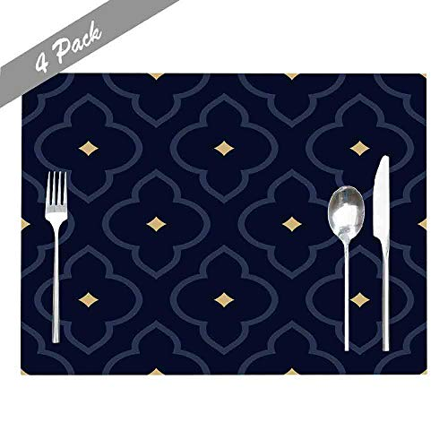 Douecish Farmhouse Placemats,Washable,Heat-Resistant Oriental Floral Pattern Tile Damask Motif Apparel Textile Fabric Phone Modern Placemats for Kitchen,Dining Table,Dining Room,18X12,Set of 4