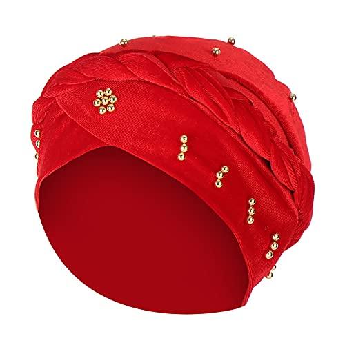 juntao Gorro de mujer con volantes musulmanes para mujer, diseo de calaveras con solapa para el odo, color rojo, talla nica, para mujer