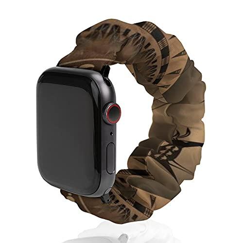Cinturino da uomo e donna compatibile con Apple Watch 42 mm/44 mm, morbido elastico elastico di ricambio per iWatch Series SE 6/5/4/3/2/1, Elk Spirit marrone