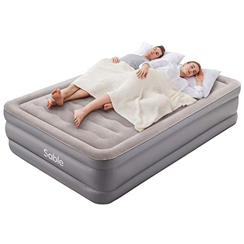 Air Bed Sable Air Mattress, Double Size Inflatable Blow Up Bed with Built-in Electric Pump Portable Airbeds for Family, Guests and Camping Indoor & Outdoor 190 x 137 x 46 cm