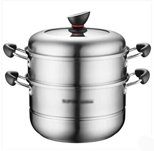 Z-W-DONG Dikke soep Pot, geïsoleerd heft transparante deksel 2 Tier Steamer Pot Jacobsschelp Kreeft Cookware 26 * 26 * 29cm Cookware (Size : 26 * 26 * 29CM)