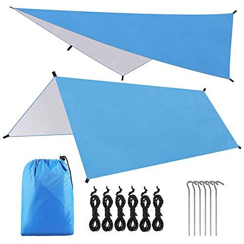 AvoDovA Tenda Parasole da Campeggio, 3*3 Metri Portatile Impermeabile Parasole Telone da Campeggio, Tenda Tarp Campeggio, Tarp con Chiodi in Alluminio e Corde del Vento, Telone per Campeggio, Picnic
