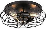 3-Light Vintage Semi Flush Mount Ceiling Light LEDMO Industrial Metal Cage Light Fixture