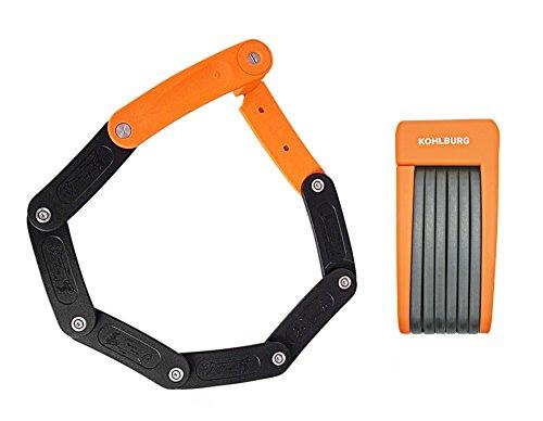 KOHLBURG leichtes & kleines Faltschloss - 690g leicht & 70cm lang - sicheres Fahrradschloss aus gehärtetem Stahl für E-Bike & Fahrrad mit Halterung