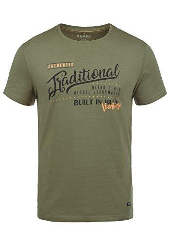 Blend Doppler Herren T-Shirt Kurzarm Shirt Mit Print Und Rundhalsausschnitt Aus 100% Baumwolle, Größe:L, Farbe:Dusty Olive Green (77203)