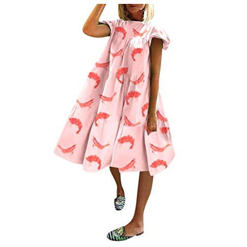 LEEDY Vestido plisado para mujer, manga corta, informal, con retazos o cuello