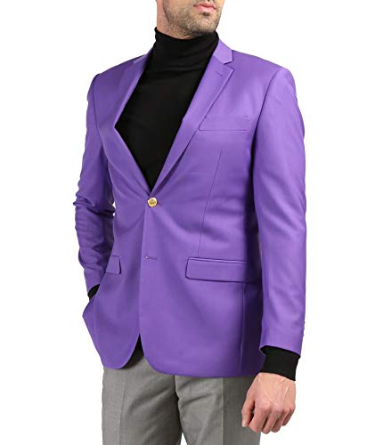 Ferrecci Men's Warwick Gold Button Slim Fit Purple Blazer - 56R
