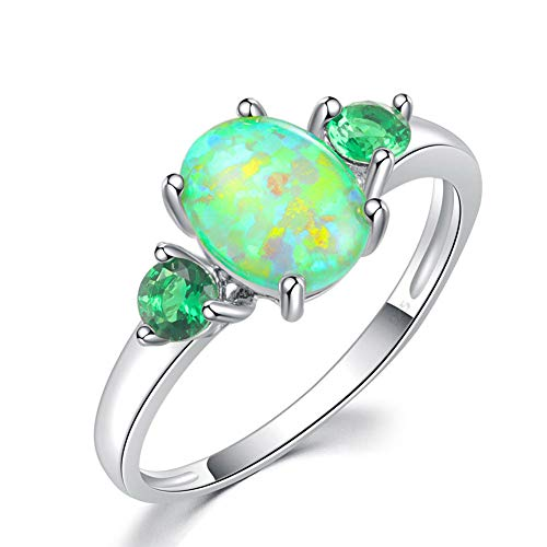 CiNily Silver Green Fire Opal Emerald for Women Jewelry Gemstone Ring Size 5-13 (10)