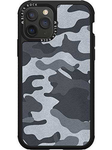 Black Rock - Robust Hülle Real Leather Camouflage Hülle für Apple iPhone 11 Pro | Cover, Leder Handyhülle, kabelloses Laden, Lederhülle, rutschfest (Camo Schwarz)