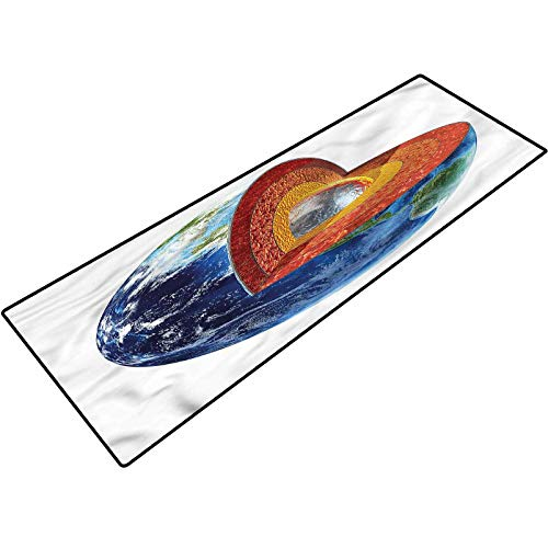 Earth Outdoor Door Carpet Earth Inner Core Science Washable for Home Office Standing Desk Rug 20x32 Inch