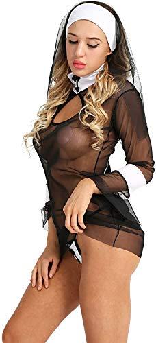 MVNZXL Conjunto de lencera para Mujer, Disfraz de Monja de sueos, Mini Vestido de Malla Transparente, Cosplay de Halloween