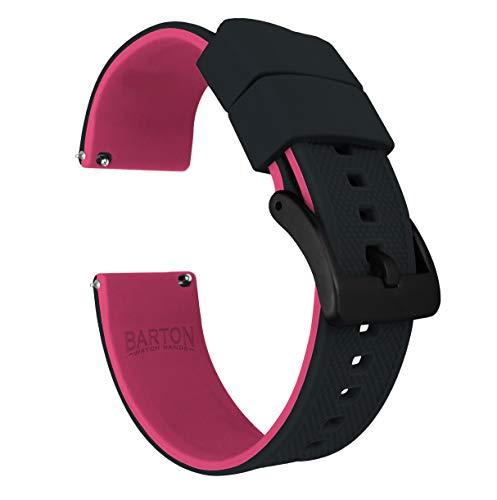 Barton Elite Silikon-Uhrenarmbänder mit Schnellverschluss, verschiedene Farben wählbar, 18 mm, 19 mm, 20 mm, 21 mm, 22 mm, 23mm oder 24 mm 20mm Oberteil schwarz / Unterseite rosa