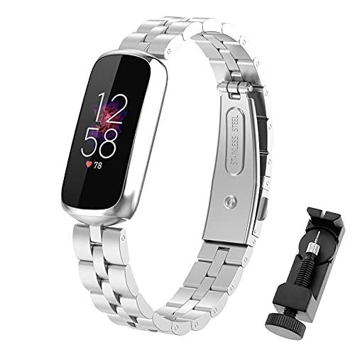 SenMore Compatible con Fitbit Luxe Correa de Acero Inoxidable Ajustable Pulsera Fitbit Luxe Correa de Reloj Repuestos Negocio Clásico Pulseras de Repuesto para Fitbit Luxe