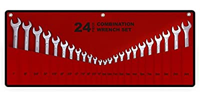 Best Value 24-Piece Master Combination Wrench Set with Roll-up Storage Pouch | SAE 1/4? to 1? & Metric 8mm to 24mm