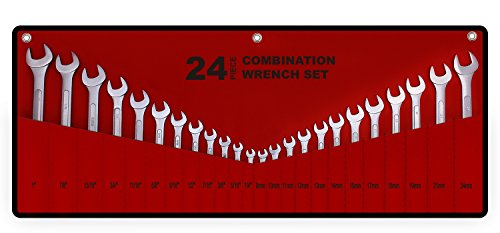 """24-Piece All-Purpose Master Combination Wrench Set with Roll-up Pouch 