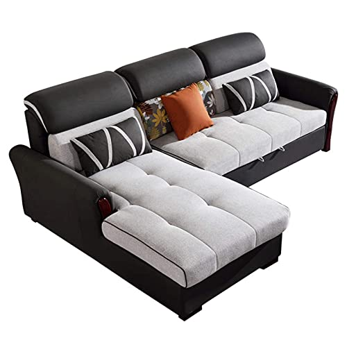 Equipamiento para el hogar Sofá cama plegable Muebles de salón multifuncionales para el hogar Sofá nórdico de tela de madera maciza Sofá de esquina Sofá de dos plazas Diseño con gran capacidad de a