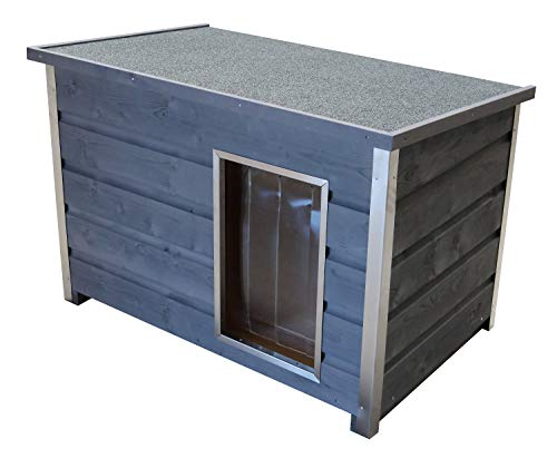 SAUERLAND Wetterfeste Holz-Hundehütte grau mit aufklappbarem Dach und 5cm dicken Wänden, 100x70x80 cm