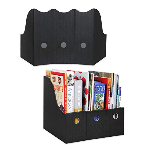Dunwell Black Magazine File Holders - (24 Pack) Sturdy Cardboard Magazine Holders, Bulk Magazine Storage Boxes with Labels as Book Boxes Classroom, Folder Bins, Book Bins, Black Magazine Organizers