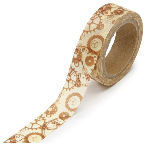 DARICE 1217-136 Washi Tape Roll, 5/8 by 315-Inch, Steampunk