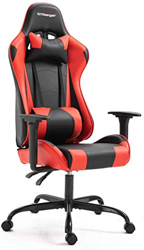 Computer Gaming Chair Racing Style High Back Ergonomic Office Desk Chair Swivel PU Leather Chair with Lumbar Support and Headrest Red