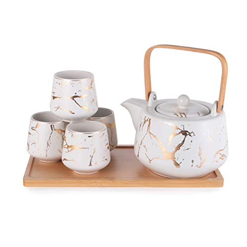 Hinomaru Collection Modern Style Marble Design Porcelain Tea Set 42 fl oz Teapot with Handle and 4 Tea Cups On Wooden Tray Contemporary Tabletop Decor (White)