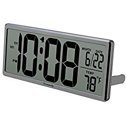DreamSky Large Digital Wall Clock Battery Operated, 13.7 inch Auto Set Alarm Clock with Date Temperature Display, Battery Wall Clock Office Clock Desk Clock Auto DST Setting Gym
