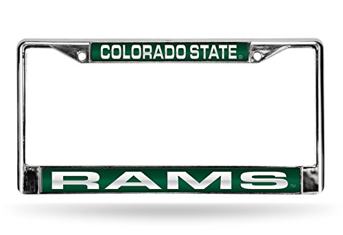 NCAA Colorado State Rams Laser Cut Inlaid Standard Chrome License Plate Frame, 6' x 12.25', Chrome