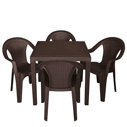 Multistore 2002 5tlg. Gartengarnitur Gartentisch 79x79cm + 4X Stapelstühle Mokka Kunststoff Rattan Optik Gartenmöbel Gartengarnitur Sitzgruppe