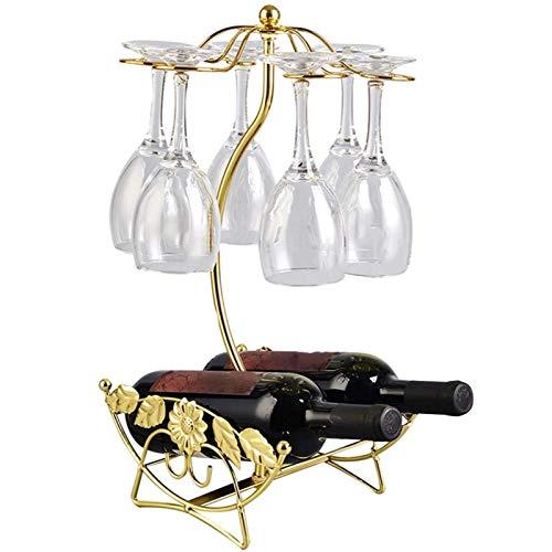 Jeseca Botellero Soporte para Vino Y Estante para Vidrio Estante para Vino De Encimera Independiente con Soporte para Vidrio, Dorado (Color : Gold)