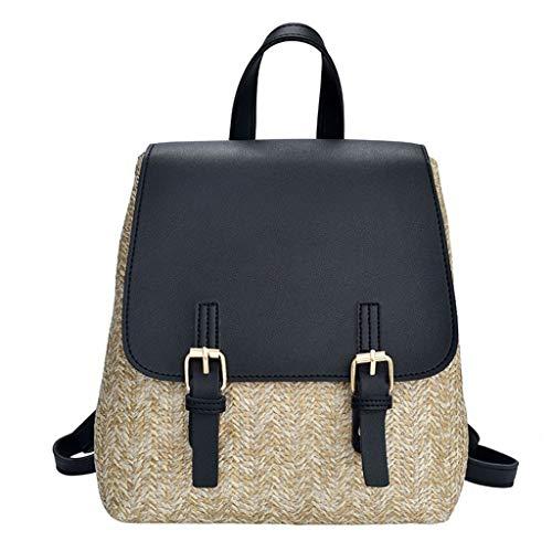 LEEDY Einfach Mädchen Rucksack Stroh Schultaschen Schulrucksack Schulranzen Handtasche Damen Casual Campus Umhängetasche Daypacks Backpack