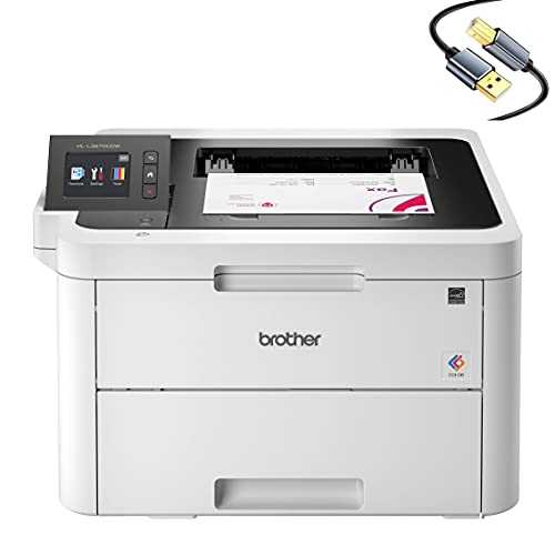 """Brother HL-L3270CD Compact Wireless Digital Color Laser Printer with NFC for Home Office - Single-Function: Print Only - 2.7"""" Touchscreen, Auto Duplex Print, 25 ppm, 250 Sheet, CBMOUN Printer Cable"""
