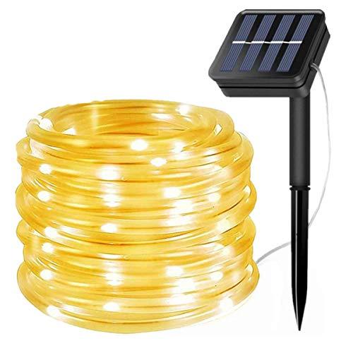 100LED Solar Lichtschlauch Außen,EHOFUN Wasserdicht 39FT LED Solar Rohr Streifen Kupferdraht Lichterketten für Garten Zuhause Hochzeit Party Weihnachtsschmuck(Warmweiß)