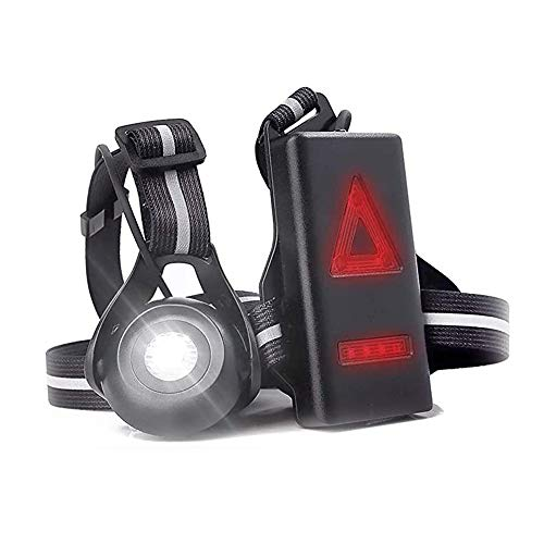 ND Linterna de pecho para correr al aire libre con linterna LED recargable por USB, correa ajustable para corredores nocturnos, corredores nocturnos, senderismo, camping, senderismo (B)