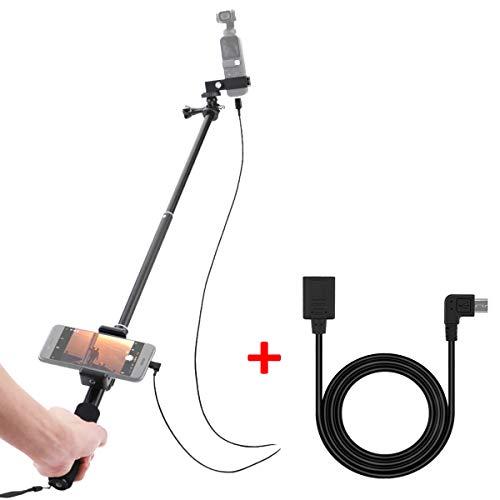 O'woda Alluminio Allungabile Selfie Stick Supporto per cellulare Estensibile scalabile Asta monopolare monopiede con cavo dati prolunga da 1 metro Cavo micro USB per DJI OSMO Pocket