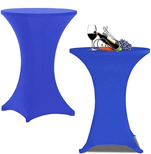 Jolitac 2 x Stretch Stehtischhusse Elastische Tischhusse Stretchhusse Husse für Stehtische Ø 70-75cm (Blau, Ø 75)