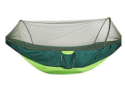 Mehrzweck Tragbare Doppelhängematte Camping Survivor Hängematte Mit Moskitonetz Tasche Schaukel Ornamente Hamac Bett Zeltmöbel (Color : Style 2 Light Green)