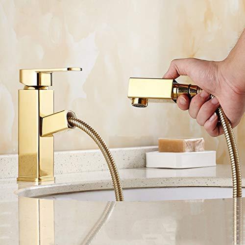 Grifo de cocina BFLOF Grifo de agua de latón dorado montado en cubierta Grifo de lavabo de baño Grifo mezclador Grifo de lavabo de lujo Extractor de ducha