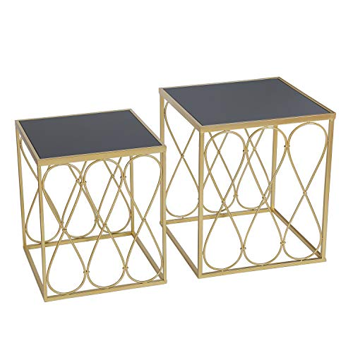 Adeco Decorative Nesting Round Side Accent Plant Stand Chair for Bedroom, Living Room and Patio, Set of 2 End Tables, Champagne Gold,Black Glass