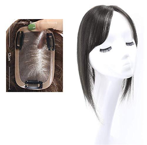 DGHJK Perruques pour Femmes Cheveux Topper attachés à la Main 8'x 12 'avec des Clips Cheveux naturels pour Femmes 10' Noir Profond avec Frange latérale Perruques pour Femmes