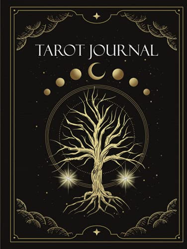 Tarot Journal: 5 Card Spread Reading - Celestial Tree of Life and Mystical Wolf Design