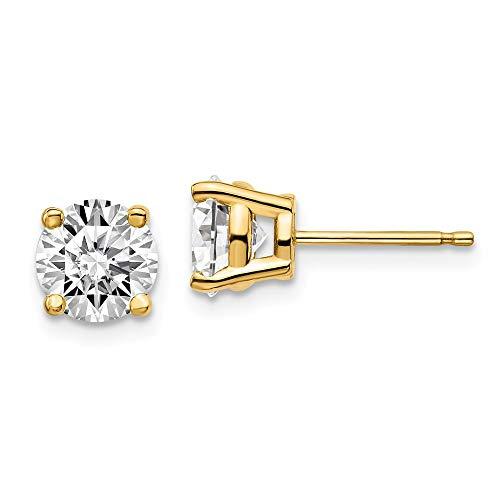 Pendientes de tuerca de oro amarillo de 14 quilates con certificado SI1/SI2 y diamantes cultivados en laboratorio G-H de 4 puntas para mujer