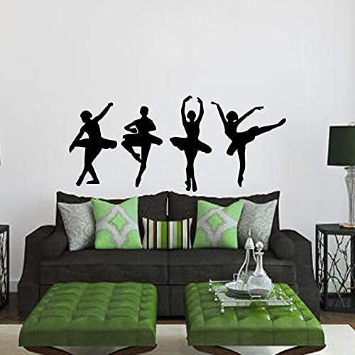 Calcomanías De Pared De Bailarina Bailarina 4 Niñas Bailarinas Danza Ballet Estudio Deporte Hogar Vinilo Calcomanía Pegatina Niños Guardería Bebé Habitación 56X123Cm