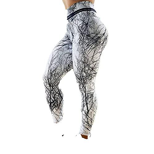 Leggings Cintura Alta Para Mujer,Leggings De Yoga Mallas De Entrenamiento De Cintura Alta Con Estampado De Árboles Muertos Leggings De Yoga Opacos Blancos Leggings De Yoga Elásticos Clásicos Para